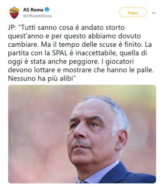 """Roma-Napoli, Pallotta infuriato: """"I giocatori dimostrino che hanno le palle"""""""