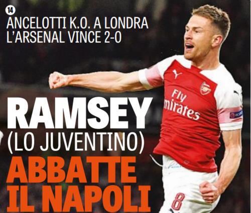 Ramsey lo juventino abbatte il Napoli. La gazzetta provoca i tifosi azzurri
