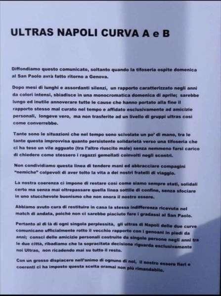 Rotto il gemellaggio Napoli-Genoa. Il comunicato delle curve napoletane.