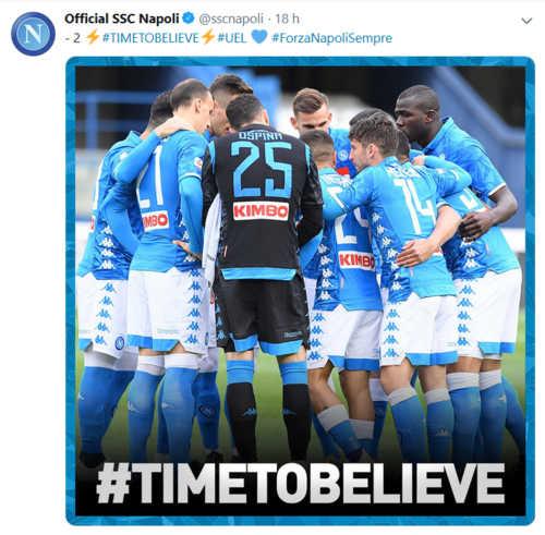 Il Napoli lancia l'hashtag  per battere l'Arsenal: #timetobelieve