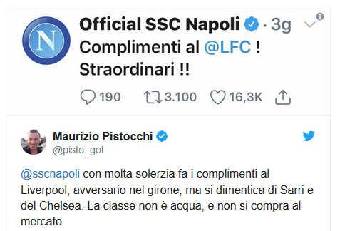 """Pistocchi bacchetta il Napoli: """"complimenti al Liverpool ma non a Sarri"""""""