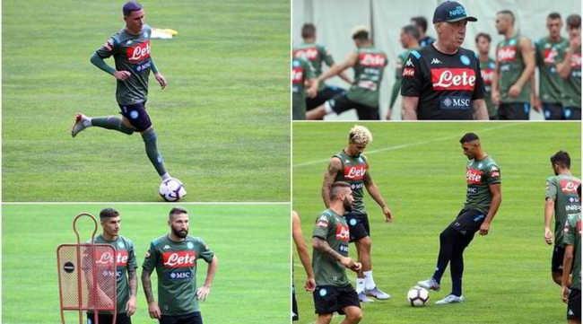 Dimaro, primo allenamento del Napoli all'insegna della pioggia. Grande ottimismo dei tifosi del Napoli che aspettano James Rodriguez.