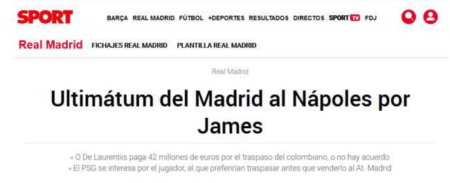 James Rodriguez-Napoli. Arriva l'ultimatum del Real Madrid