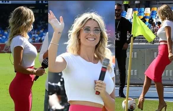 Diletta Leotta incanta il San Paolo. Napoli e Brescia assistono allo show