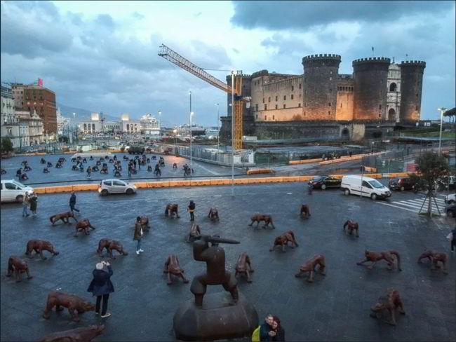 Napoli cento lupi Liu Ruowang piazza Municipio