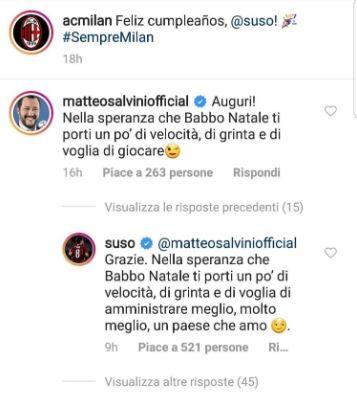 Suso risponde a Salvini