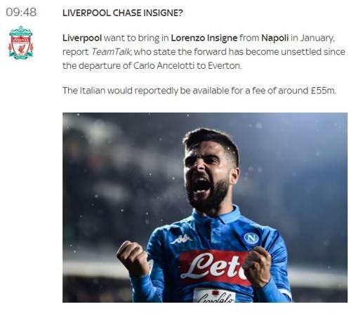 Mercato Liverpool Insigne