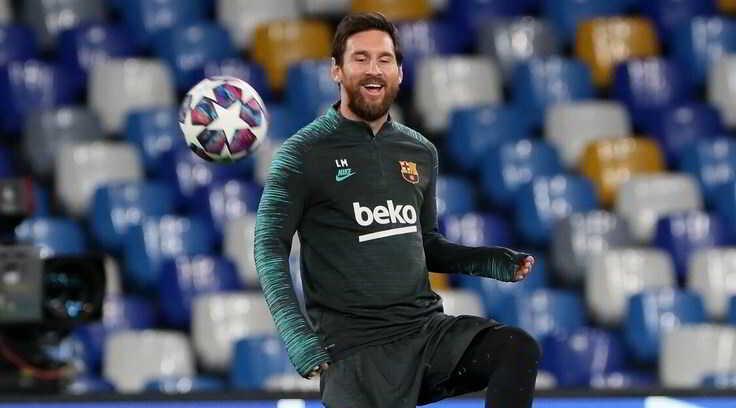 FOTO- Napoli, Messi si allena nel tempio di Maradona