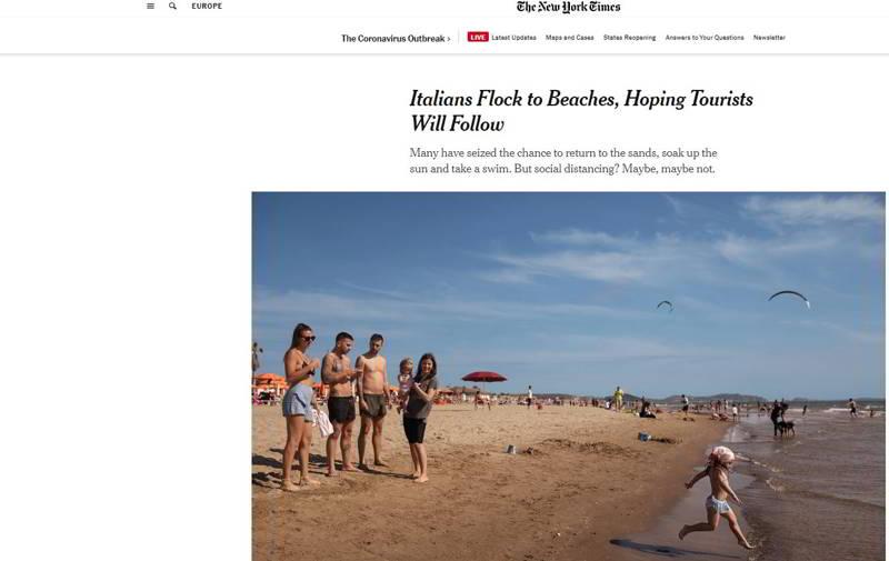 new yotk times articolo spiagge campania
