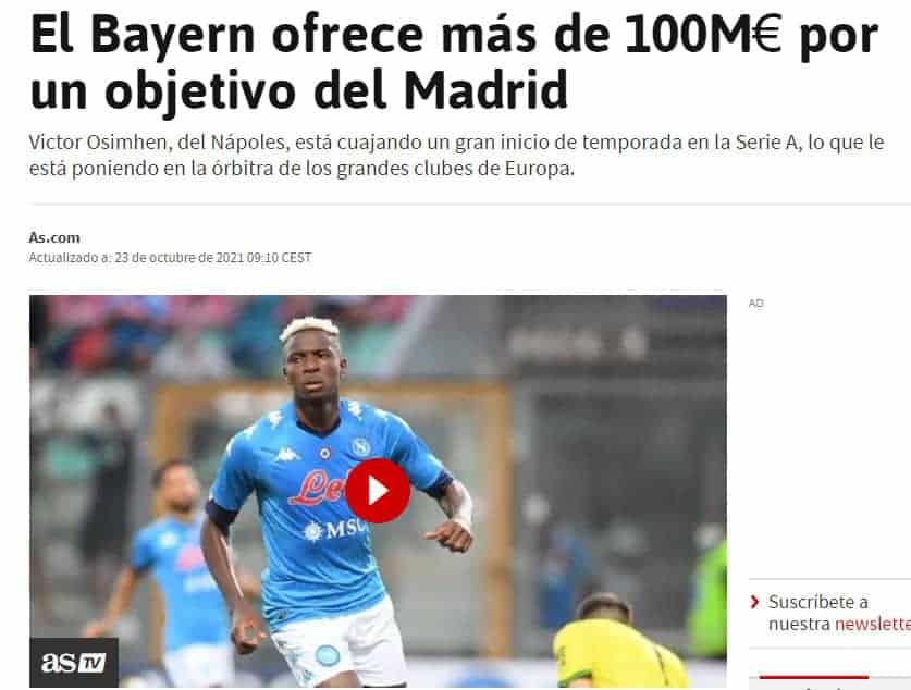 Dalla Spagna: Il Real Madrid su Osimhen, asta con il Bayern Monaco. Ecco quanto potrebbe incassare De Laurentiis